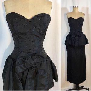 Vintage 80s Gunne Sax Prom Formal Dress Black
